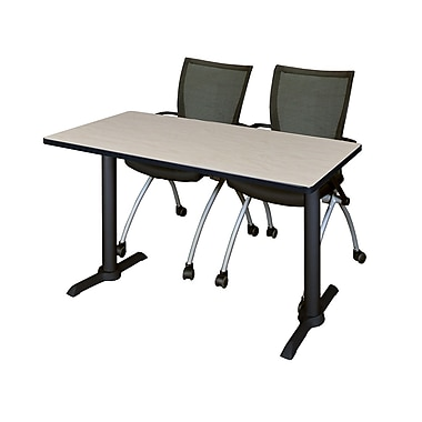 Regency 48-inch Metal & Wood Training Table with Apprentice Chairs, Maple