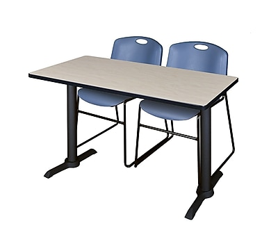 Regency 48'' Rectangular Training Table and Chairs, Woodtone w/ Stack Chairs (MTRCT4824PL44BE)