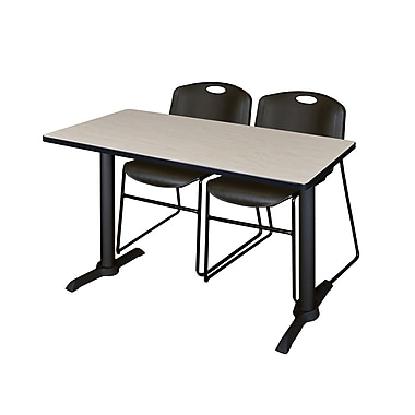 Regency 48'' Rectangular Training Table and Chairs, Woodtone with Stack Chairs, Black (MTRCT4824PL44BK)