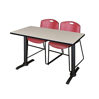 Regency 48'' Rectangular Training Table and Chairs, Maple with Zeng Chairs (MTRCT4824PL44BY)