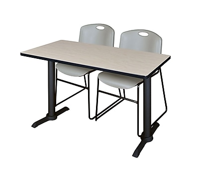 Regency 48-inch Wood & Metal Computer Table with Stack Chairs, Gray