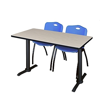 Regency 48'' Rectangular Training Table and Chairs, Woodtone with Stack Chairs, Blue (MTRCT4824PL47BE)