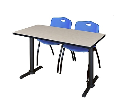 Regency 48'' Rectangular Training Table and Chairs, Woodtone w/ Stack Chairs (MTRCT4824PL47BE)
