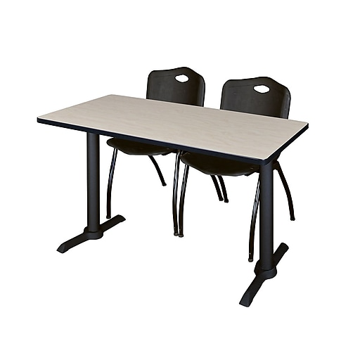 Regency 48-inch Metal & Wood Cain Computer Table with Stack Chairs, Black