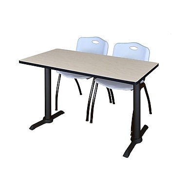Regency Cain 48'' Rectangular Training Table and Chairs, Woodtone with Stack Chairs (MTRCT4824PL47GY)