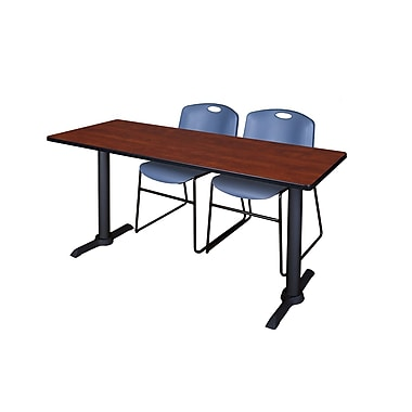 Regency Cain 60'' Rectangular Training Table and Chairs with Stack Chairs, Cherry (MTRCT6024CH44BE)