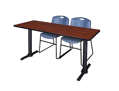 Regency Cain 60'' Rectangular Training Table and Chairs, Cherry w/ Stack Chairs (MTRCT6024CH44BE)