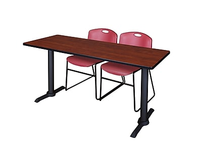 Regency 60-inch Metal & Wood Cain Computer Table Cherry with Stack Chairs, Burgundy