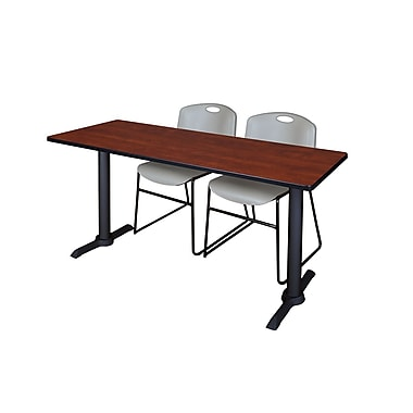 Regency Cain 60'' Rectangular Training Table and Chairs with Stack Chairs, Cherry (MTRCT6024CH44GY)