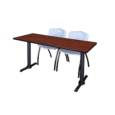 Regency 60'' Rectangular Training Table and Chairs, Woodtone with Stack Chairs (MTRCT6024CH47GY)