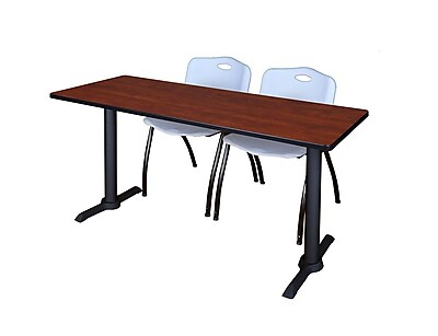 Regency 60-inch Wood & Metal Training Table with Stack Chairs, Gray