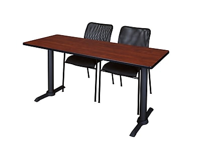 Regency 60-inch, Metal & Wood Cain Computer Table with Mario Stack Chairs, Cherry