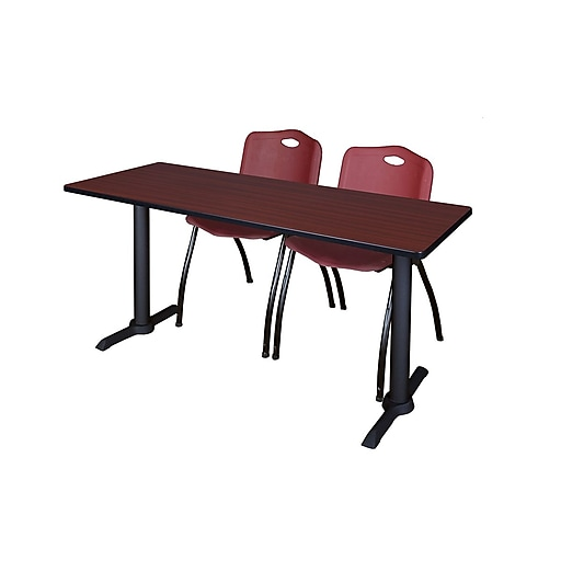 """Regency Cain 60"""" x 24"""" Training Table, Mahogany and 2 'M' Stack Chairs, Burgundy (MTRCT6024MH47BY)"""