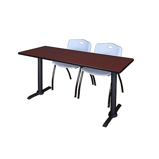 """Regency Cain 60"""" x 24"""" Training Table, Mahogany and 2 'M' Stack Chairs, Gray (MTRCT6024MH47GY)"""