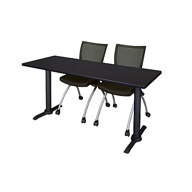 Regency 60'' Rectangular Training Table and Chairs, Mocha Walnut with Apprentice Chairs (MTRCT6024MW09BK)