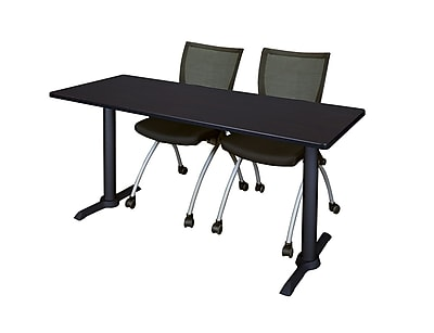 Regency 60-inch Metal & Wood Training Tables with Apprentice Chairs , Mocha Walnut