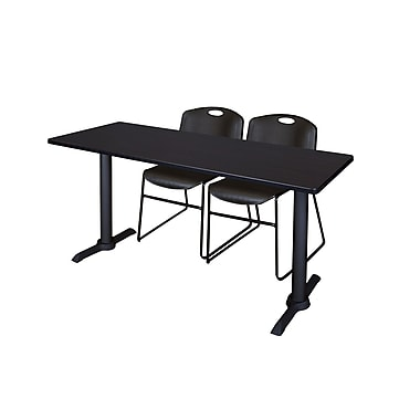 Regency Cain 60'' Rectangular Training Table and Chairs, with Zeng Chairs, Woodtone (MTRCT6024MW44BK)