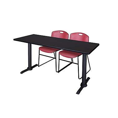 Regency 60-inch Metal & Wood Cain Rectangular Training Table with Zeng Stack Chairs, Burgundy