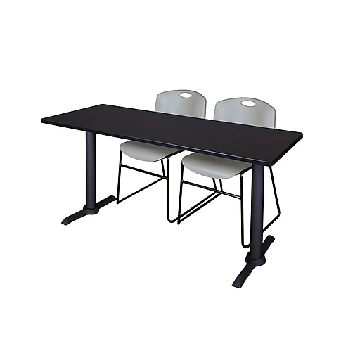 Regency 60-inch Metal & Wood Cain Rectangular Training Table with Zeng Stack Chairs, Gray