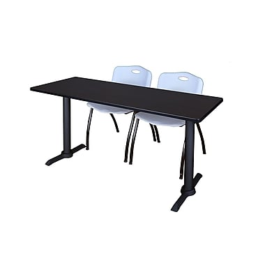 Regency 60'' Rectangular Training Table and Chairs, Woodtone w/ Mario Chairs (MTRCT6024MW47GY)