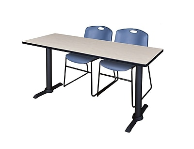 Regency 60-inch Metal & Wood Cain Maple Table with Zeng Stack Chairs, Blue