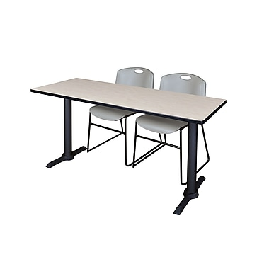 Regency Cain 60'' Rectangular Training Table and Chairs with Zeng Chairs, Maple (MTRCT6024PL44GY)