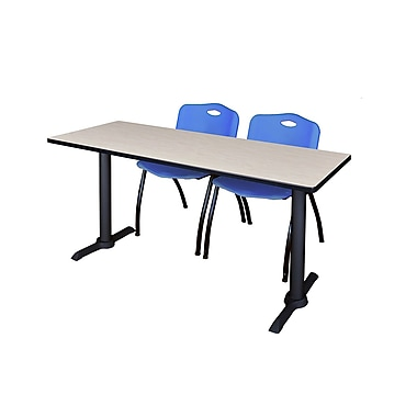 Regency Cain 60'' Rectangular Training Table and Chairs with M Chairs, Maple (MTRCT6024PL47BE)