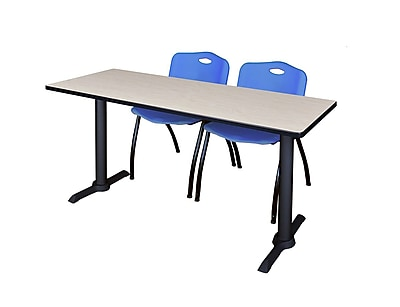 Regency Cain 60'' Rectangular Training Table and Chairs, Maple w/ M Chairs (MTRCT6024PL47BE)