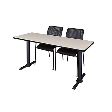 Regency Cain 60'' Rectangular Training Table and Chairs with Mario Chairs, Maple (MTRCT6024PL75BK)