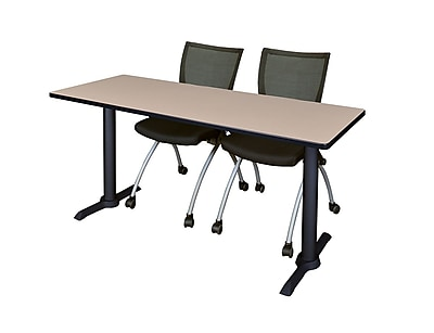 Regency 66-inch Metal & Wood Cain Training Table with Apprentice Chairs, Beige