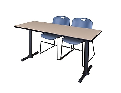 Regency 66-inch Wood & Metal Rectangular Training Table With Zeng Stack Chairs, Blue