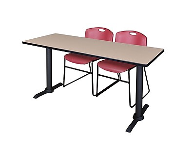 Regency 66-inch Wood & Metal Rectangular Training Table With Zeng Stack Chairs, Burgundy