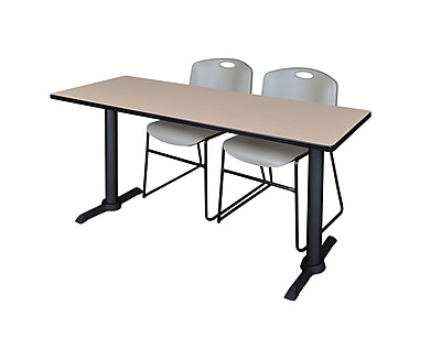 Regency Cain 66'' Rectangular Training Table and Chairs, Beige w/ Zeng Chairs (MTRCT6624BE44GY)
