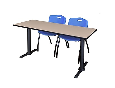 Regency 66-inch Metal & Wood Cain Computer Training Table with Mario Stack Chairs, Blue