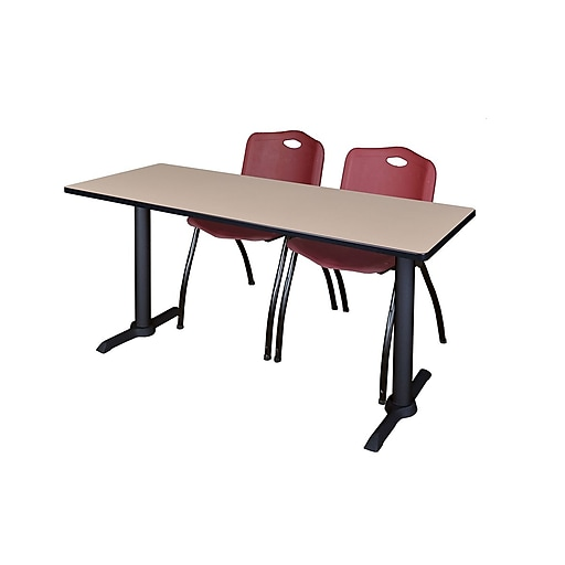 "Regency Cain 66"" x 24"" Training Table, Beige and 2 'M' Stack Chairs, Burgundy (MTRCT6624BE47BY)"