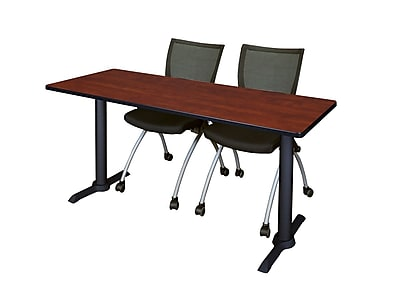 Regency 66-inch Metal & Wood Cain Training Table with Apprentice Chairs, Cherry