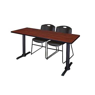 Regency Cain 66'' Rectangular Training Table and Chairs, Cherry with Zeng Chairs (MTRCT6624CH44BK)