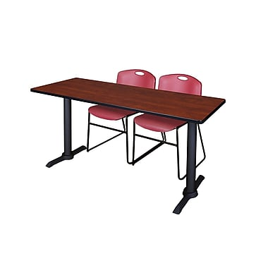 Regency Cain 66'' Rectangular Training Table and Chairs, Cherry with Stack Chairs (MTRCT6624CH44BY)