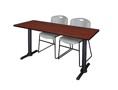 Regency Cain 66'' Rectangular Training Table and Chairs, Cherry w/ Stack Chairs (MTRCT6624CH44GY)