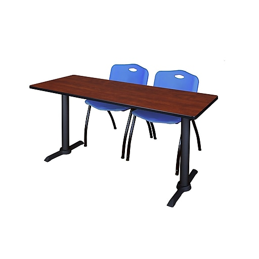 """Regency Cain 66"""" x 24"""" Training Table, Cherry and 2 'M' Stack Chairs, Blue (MTRCT6624CH47BE)"""