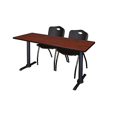 Regency Cain 66'' Rectangular Training Table and Chairs, Cherry with M Chairs (MTRCT6624CH47BK)