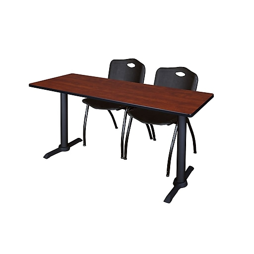 """Regency Cain 66"""" x 24"""" Training Table, Cherry and 2 'M' Stack Chairs, Black (MTRCT6624CH47BK)"""
