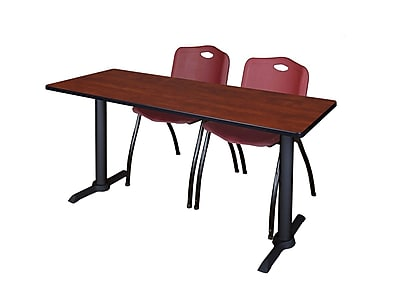 Regency Cain 66'' Rectangular Training Table and Chairs, Cherry w/ M Chairs (MTRCT6624CH47BY)