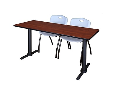 Regency Cain 66'' Rectangular Training Table and Chairs, Cherry w/ Stack Chairs (MTRCT6624CH47GY)