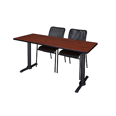 Regency 66'' Rectangular Training Table and Chairs, Cherry with Mario Chairs (MTRCT6624CH75BK)