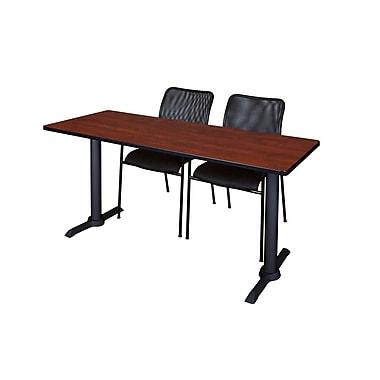 Regency – Table de formation rectangulaire de 66 po, fini cerisier, avec chaises Mario (MTRCT6624CH75BK)