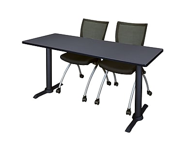 Regency Cain 66'' Rectangular Training Table and Chairs, Woodtone w/ Apprentice Chairs (MTRCT6624GY09BK)