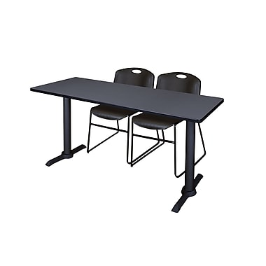 Regency 66'' Rectangular Training Table and Chairs, Woodtone with Zeng Chairs (MTRCT6624GY44BK)