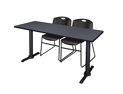 Regency 66-inch Metal & Wood Rectangular Training Table with Zeng Stack Chairs, Black
