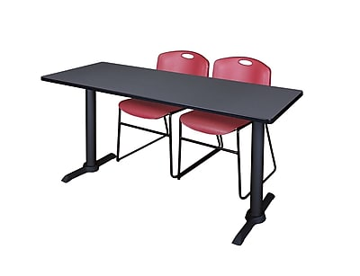 Regency 66'' Rectangular Training Table and Chairs, Woodtone w/ Zeng Chairs (MTRCT6624GY44BY)